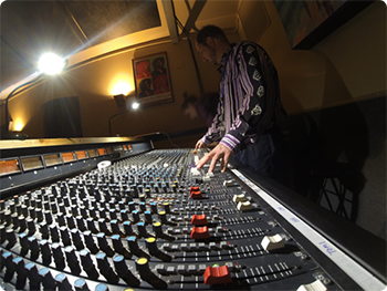 A sound engineer working a show.